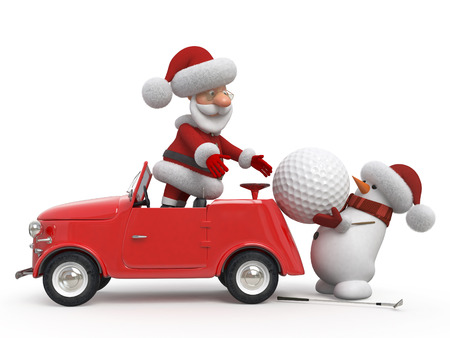 christmas golf: Delivery of gifts on New Years Eve Stock Photo