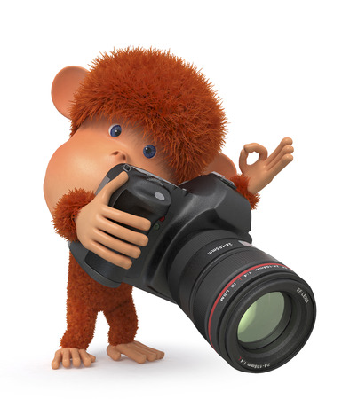 the primacy with the camera is engaged in subject filming Stock Photo