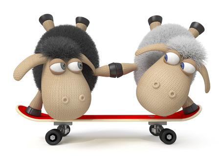 大きなボードに乗る小さな羊