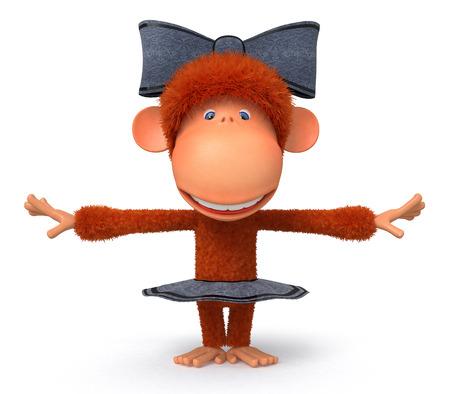 tanzen cartoon: das Primat hat Spa� an den Klang der Musik in einem Rock und mit einem Bogen