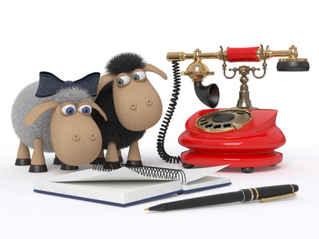Lambs accept demands by phone for gifts Stockfoto