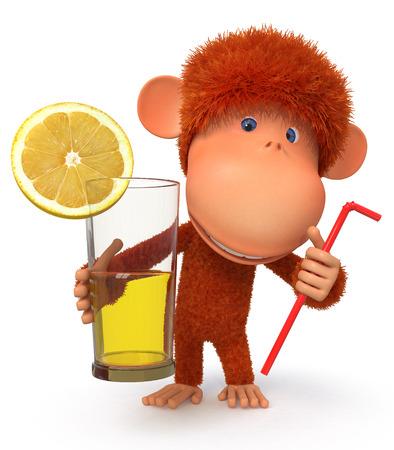 limon caricatura: Ilustraci�n con una primac�a que sostiene un vaso con jugo Foto de archivo