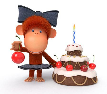 The primacy celebrates Birthday with pastries with cherries