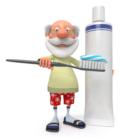 hygienic: The grandfather does hygienic prevention for teeth