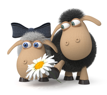 Sheep outdoors look at flowers Stock Photo