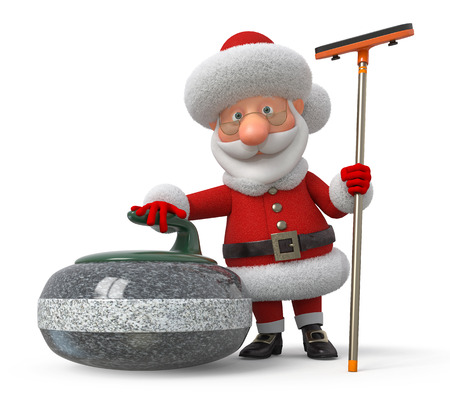 santa claus cartoon: New Years sports game on an ice platform with a stone Stock Photo