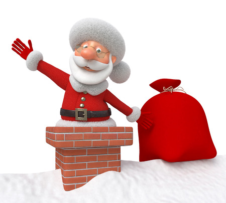 New Year's coming of the fantastic grandfather through a flue