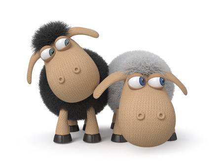 domestic animal: mutual relation between two sheep Stock Photo