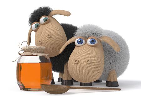 rejoice: farm animals rejoice to honey Stock Photo