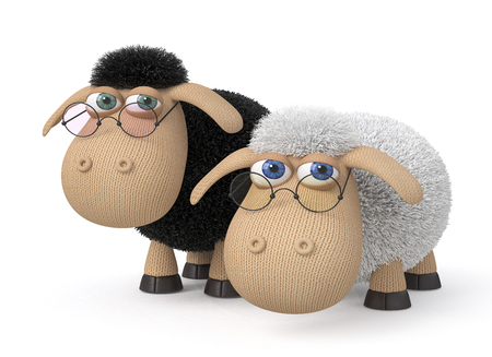 image lamb: two clever sheeps with glasses