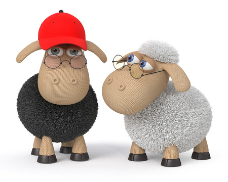 baseball cartoon: two clever sheep with glasses Stock Photo