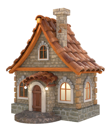 real estate house: House illustration with a decorative roof, a chimney and a facade