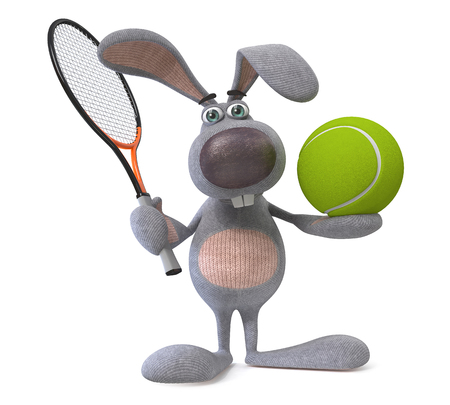 The rabbit with a tennis racket and a ball poses