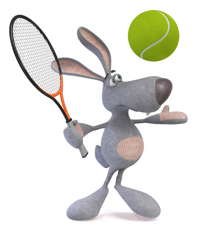 absurd: The rabbit with a tennis racket and a ball poses