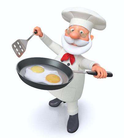 huevos estrellados: preparación ilustración 3D de huevos fritos en la cocina