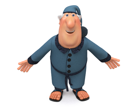 cap and gown: 3d illustration of the man in a dressing gown, slippers and a cap on the head