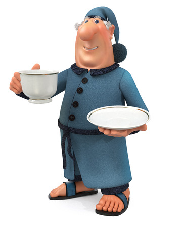 and has: 3d illustration of the man in a dressing gown, slippers and a cap on the head and with a cup of tea Stock Photo