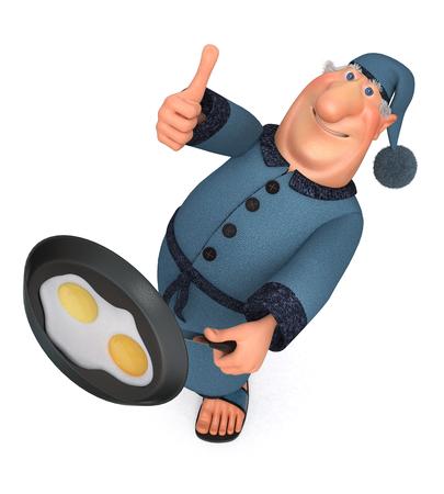 fried eggs: The 3D illustration the man cooks fried eggs for breakfast
