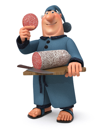 cap and gown: The 3D illustration the cook in a dressing gown and a cap makes a breakfas