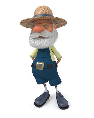La ilustración 3D del abuelo campesino posa con un mono Foto de archivo