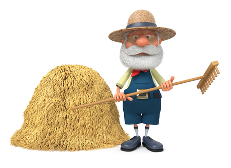 The 3D illustration the grandfather the peasant poses in overalls with a rake near a haystack