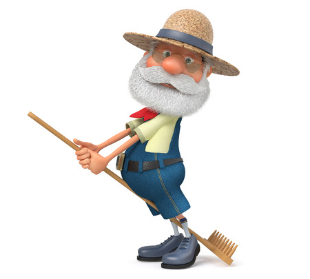 peasant: The 3D illustration the grandfather the peasant poses in overalls with a rake near a haystack