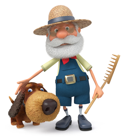 The 3D illustration the grandfather the peasant costs with a shaggy dog embracing her