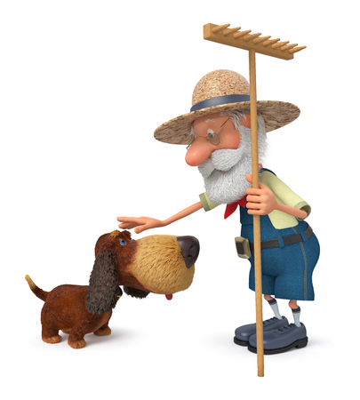 shaggy dog: The 3D illustration the grandfather the peasant costs with a shaggy dog embracing her