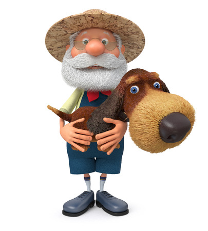 shaggy: The 3D illustration the grandfather the peasant costs with a shaggy dog embracing her