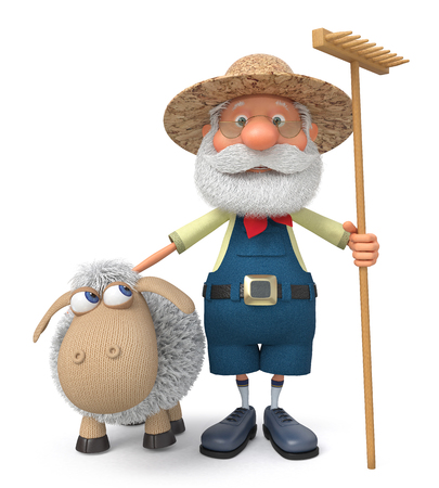 peasant: The 3D illustration the grandfather the peasant costs with a sheep outdoors