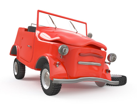 3d illustration the vehicle costs on the road after accident Stock Photo