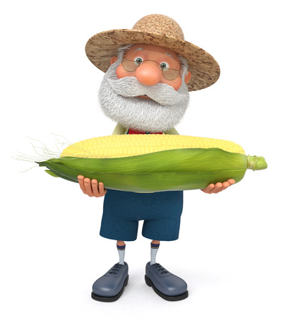 peasant: 3D illustration the grandfather the peasant poses with corn
