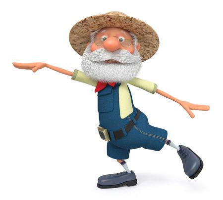campesinas: La ilustración 3D del abuelo campesino posa con un mono Foto de archivo