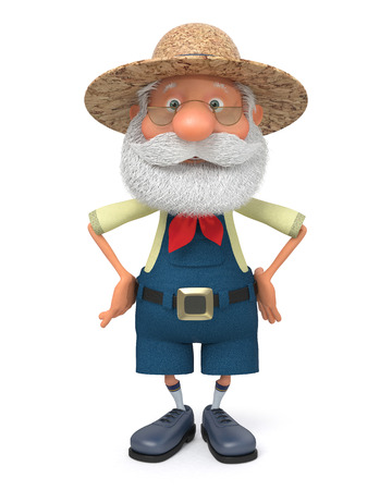 The 3D illustration the grandfather the peasant poses in overalls