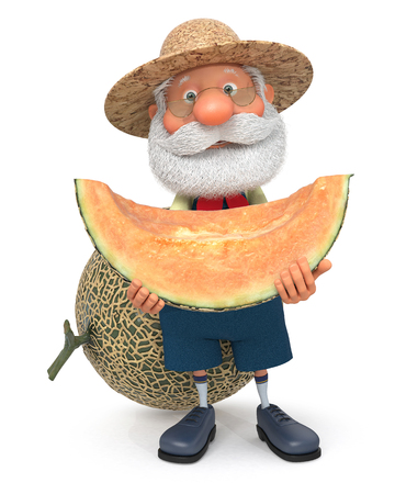 3D illustration the grandfather the peasant poses with melon