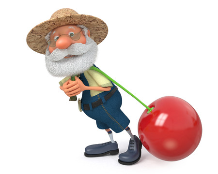 campesino: Ilustraci�n 3D del abuelo campesino posa con la cereza Foto de archivo