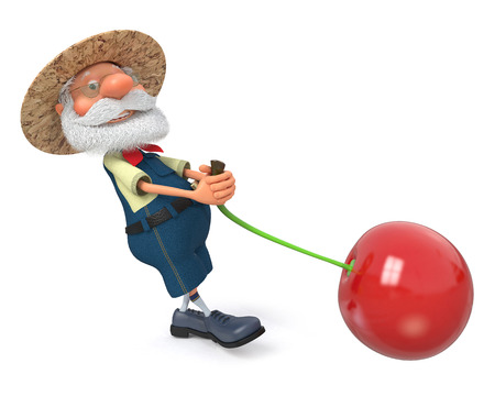 peasant: 3D illustration the grandfather the peasant poses with cherry Stock Photo