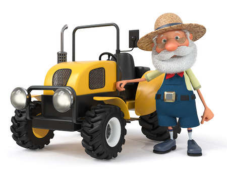 peasant: 3d illustration the grandfather the peasant poses with agricultural machinery