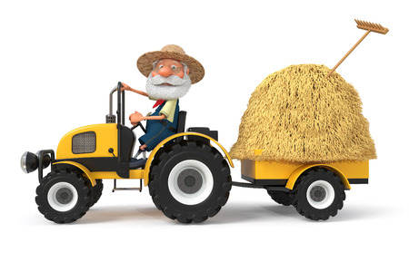 3d illustration the grandfather the peasant poses with agricultural machinery