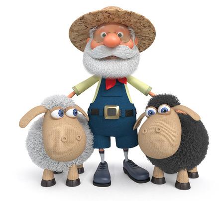 peasant: 3D illustration the grandfather the peasant costs with a sheep, covering it