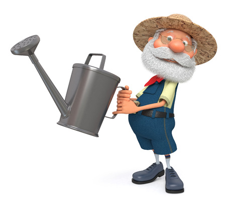 peasant: 3D illustration the grandfather the peasant poses in overalls with a watering can