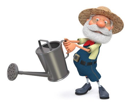 3D illustration the grandfather the peasant poses in overalls with a watering can