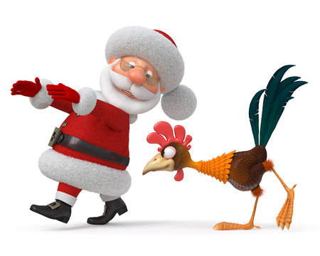 costs: 3d illustration fantastic grandfather costs with a rooster Stock Photo