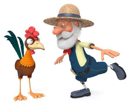 3d illustration fantastic grandfather costs with a cock
