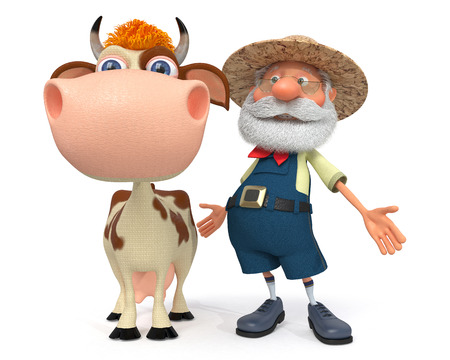 peasant: 3d illustration the peasant with horned cattle