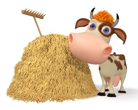 3d illustration horned animal on a farm