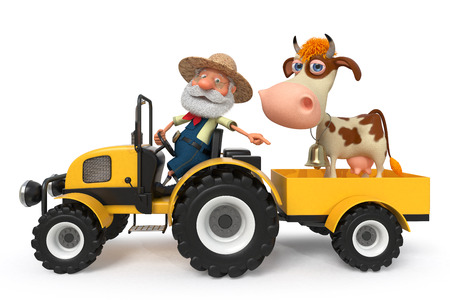 domestication: 3d illustration the peasant is lucky the animal on a pasture Stock Photo