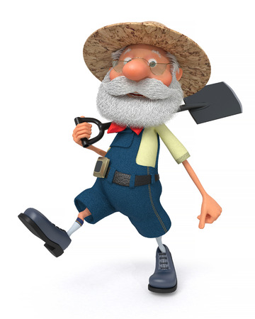 The 3D illustration the grandfather the peasant poses in overalls with a shovel