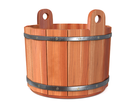 finnish bath: 3d illustration the wooden coil with an iron rim