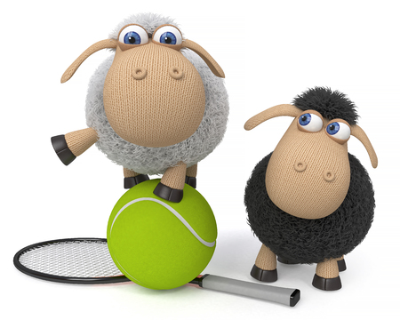 3d illustration farm animals play sports with a racket and ball